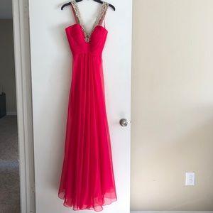 "Long Vibrant Chiffon Dress with Low ""V"""